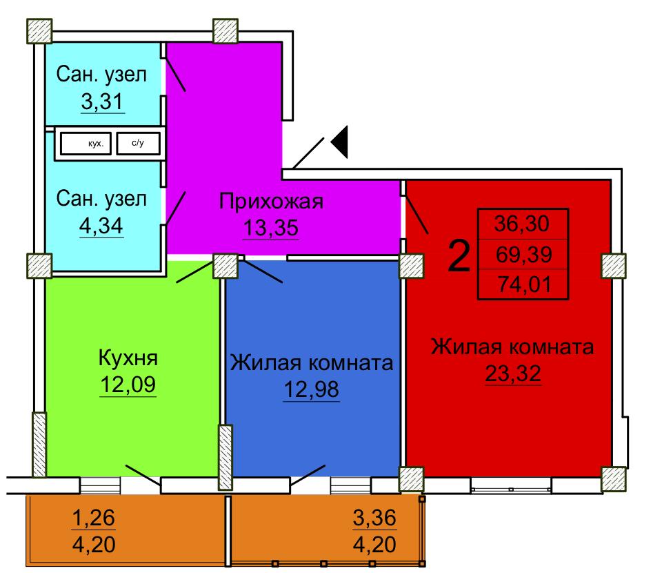 Секция 1, 2-комнатная квартира
