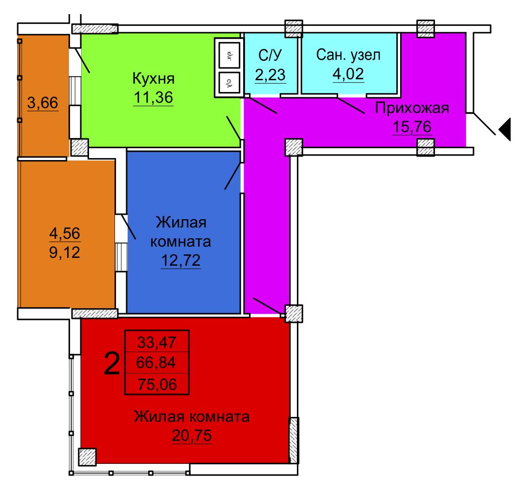 Двухкомнатная квартира, Секция 1