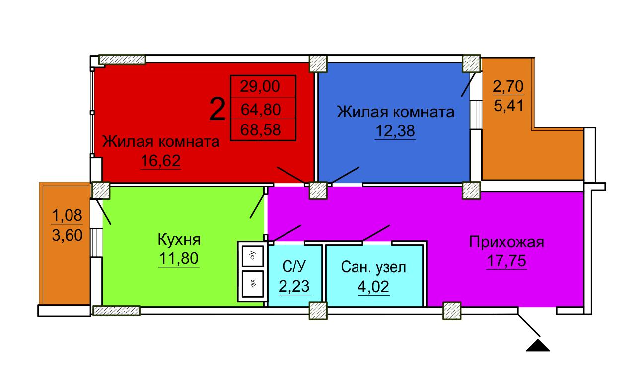 Секция 1 2-ком. квартира 6-16 этаж