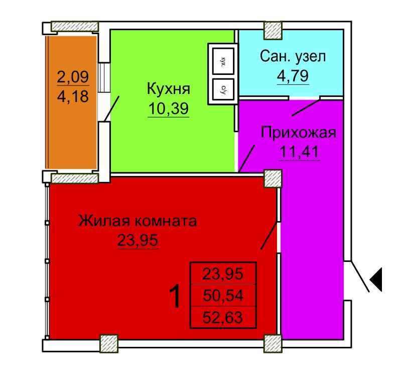 Однокомнатная квартира Секция 2