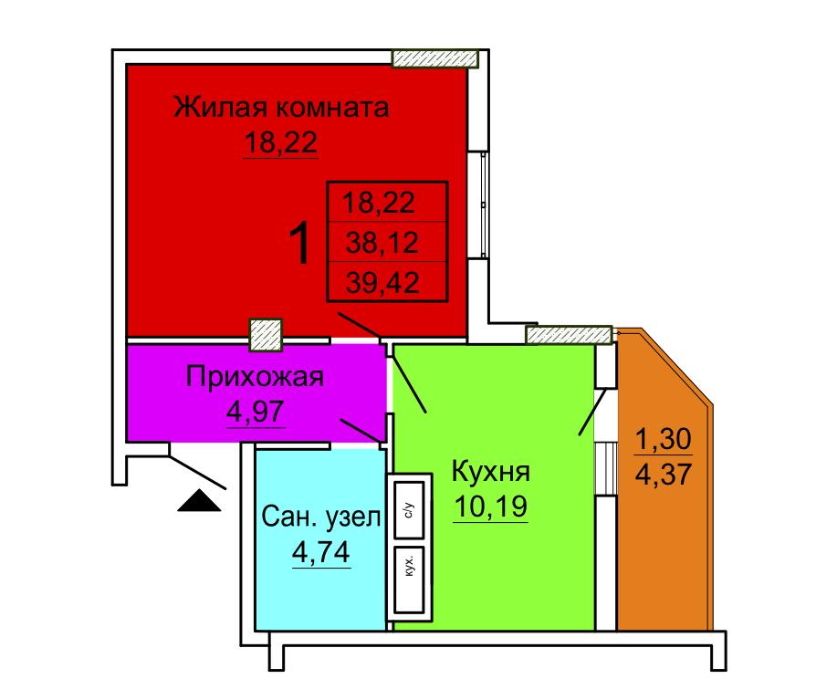 1 комнатная секция 2