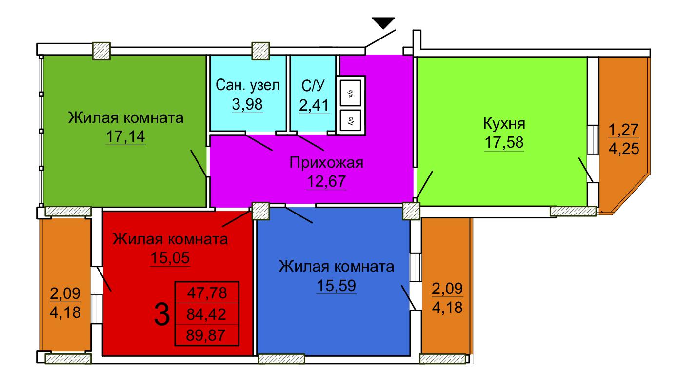 Трехкомнатная квартира в Секции 2