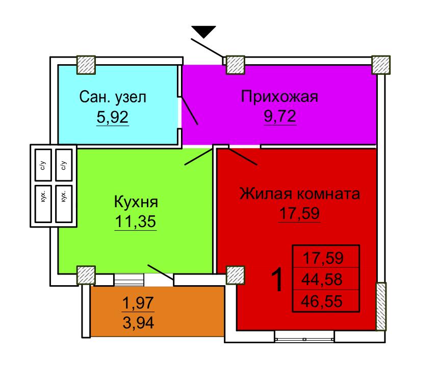 3 секция однокомнатная квартира