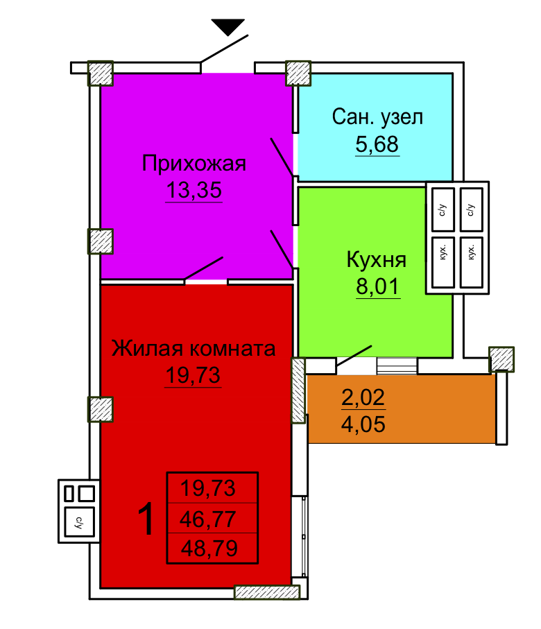1-комнатная 3 секция