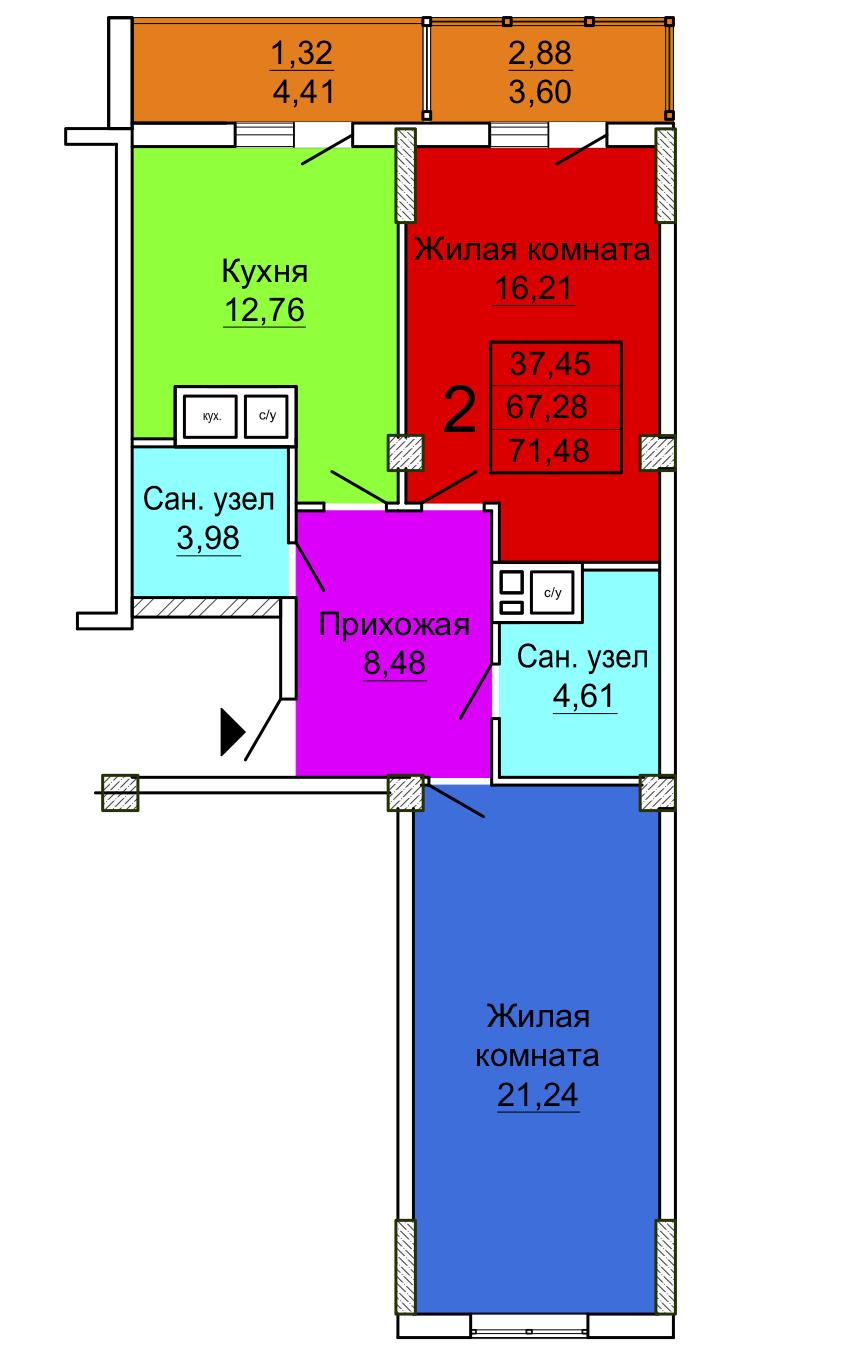 Двухкомнатная квартира Секция 3