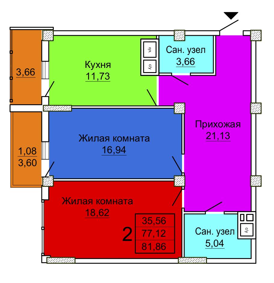 Секция 3 двухкомнатная квартира Салтовка