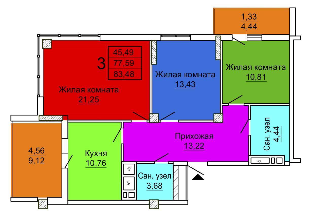 Трехкомнатная квартира 3 секция