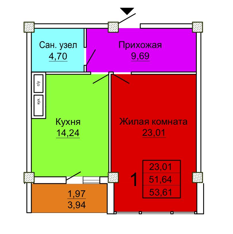 Секция 4 1-комнатная квартира