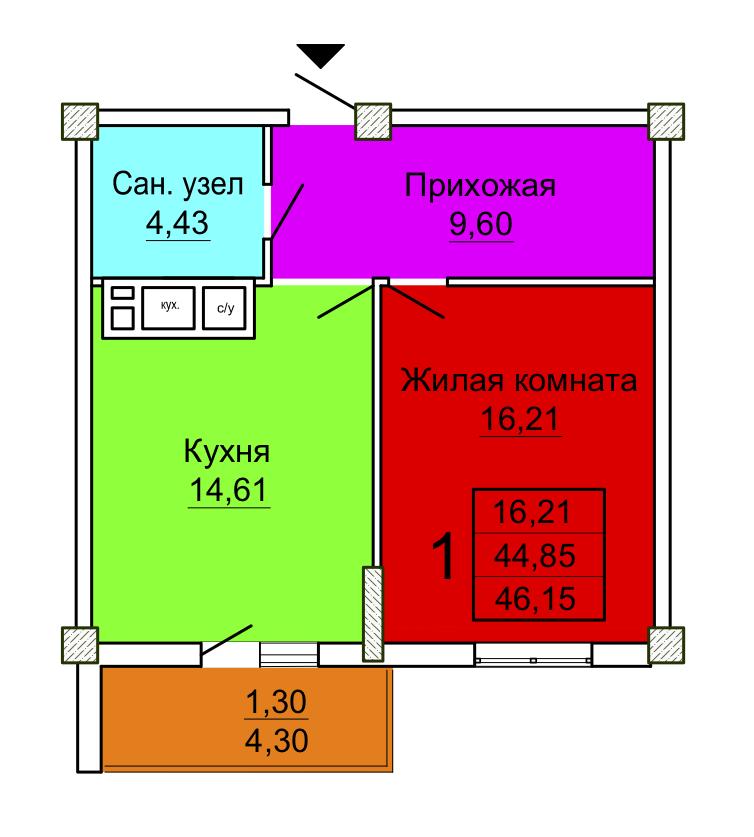 1 комнатная 4 секция