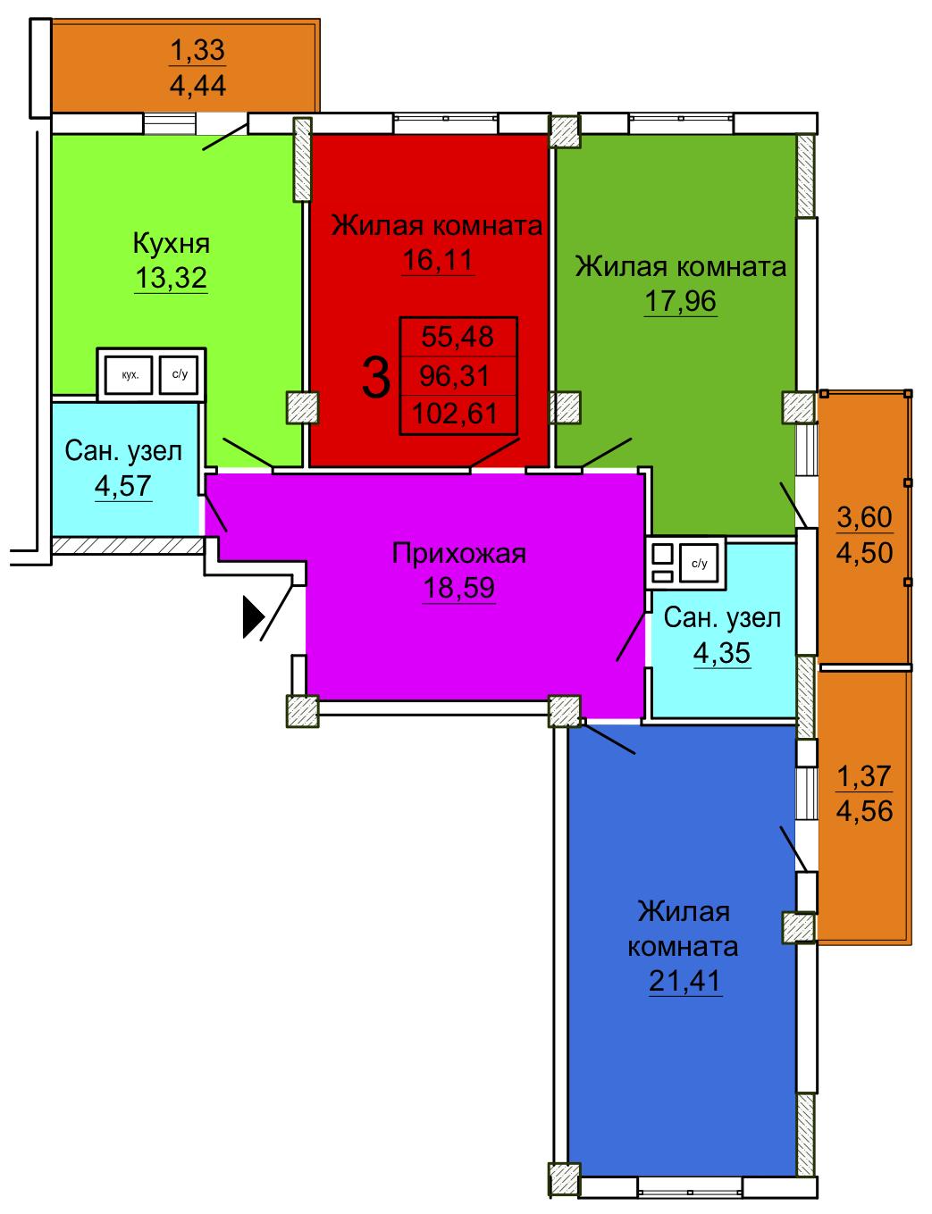 4 секция трехкомнатная квартира