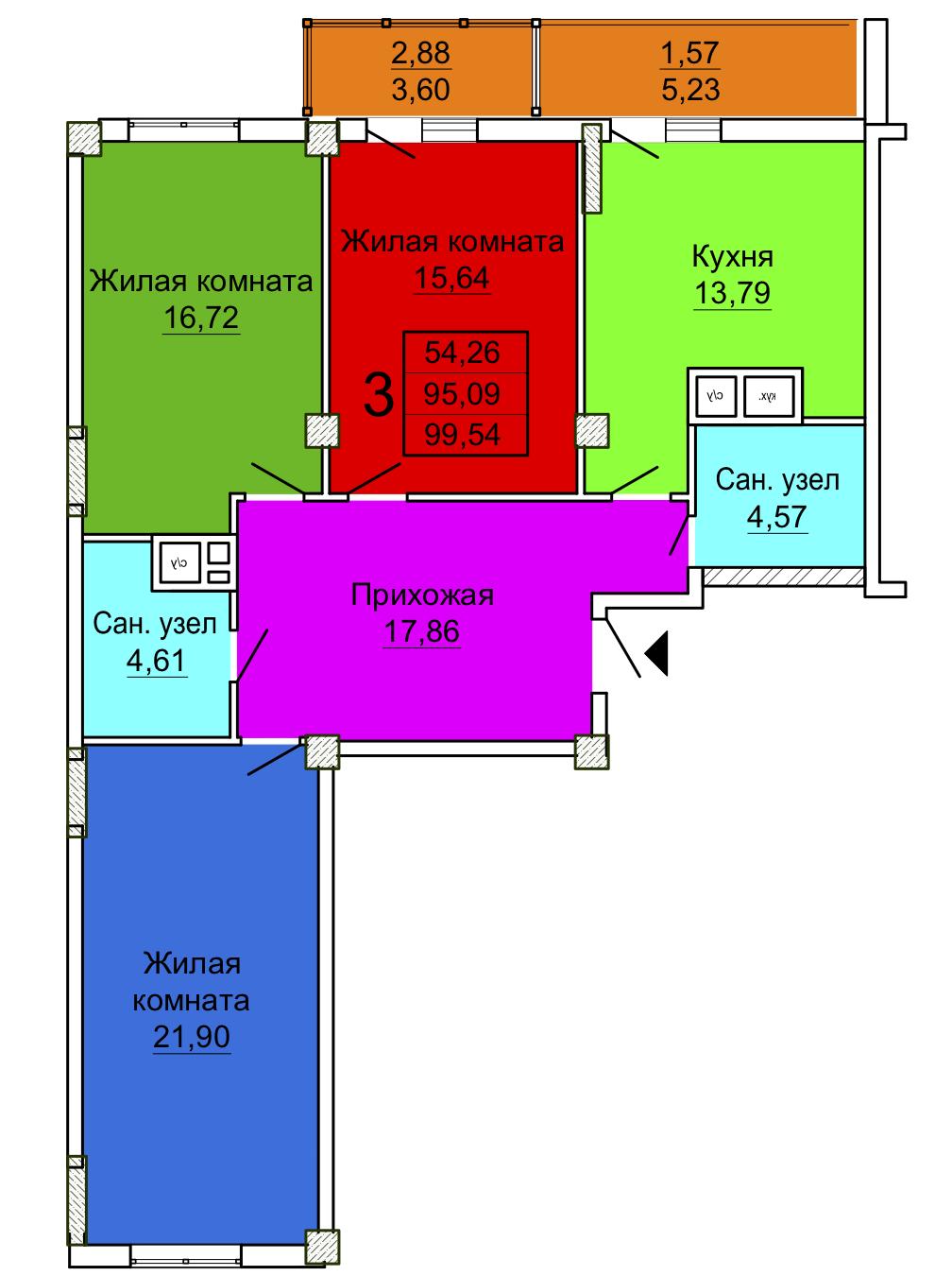 3 комнатная квартира 4 секция