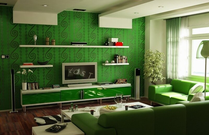 Зеленый цвет в дизайне комнаты