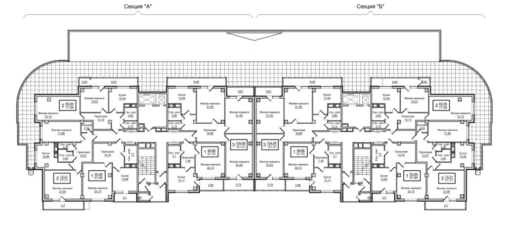 Планировка 2-го этажа ЖК Слобожанский квартал