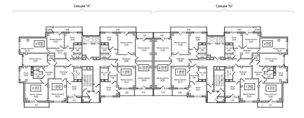 Планировка 3-14 этажей