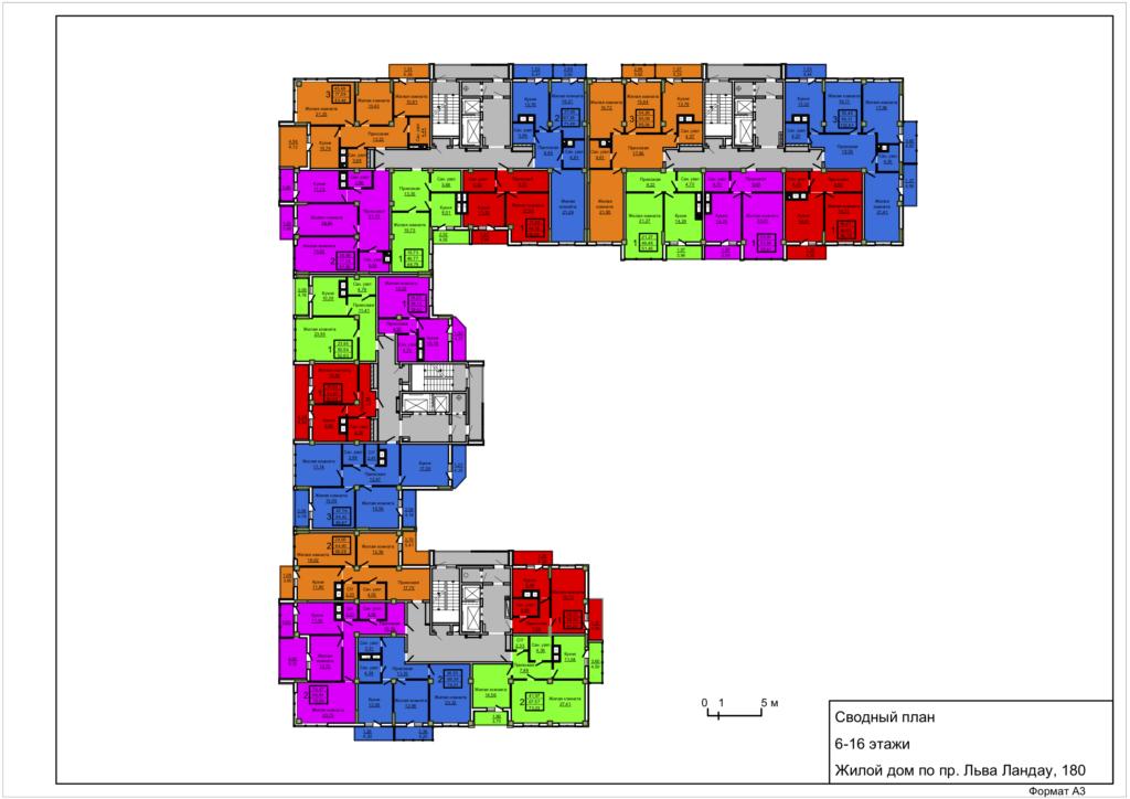 Общая планировка Слобожанский Квартал 2 6-16 этажи
