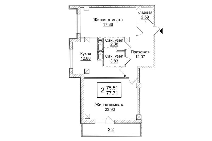 2 кімнатна квартира (Секція А) Sобщ = 77,71