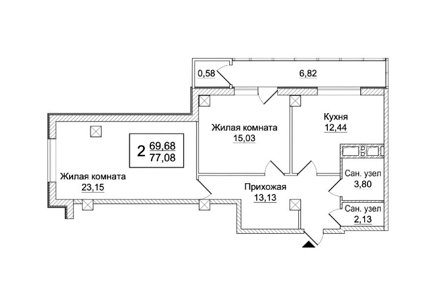 2 кімнатна квартира (Секція А) Sобщ = 77,08