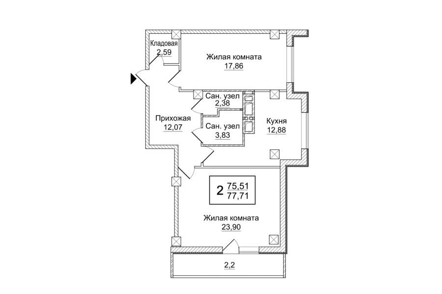 2 комнатная квартира (Секция Б) Sобщ=77,71