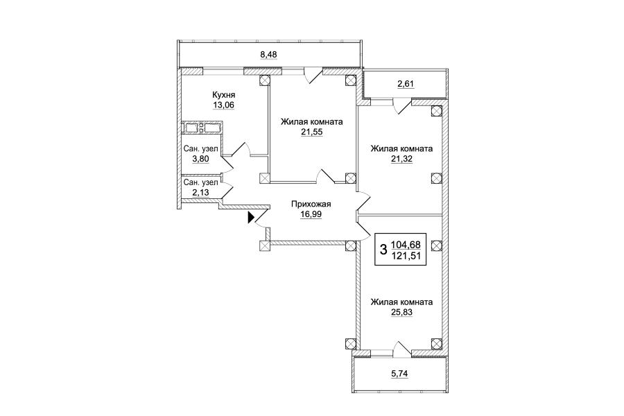 3 комнатная квартира (Секция А) Sобщ=121,51