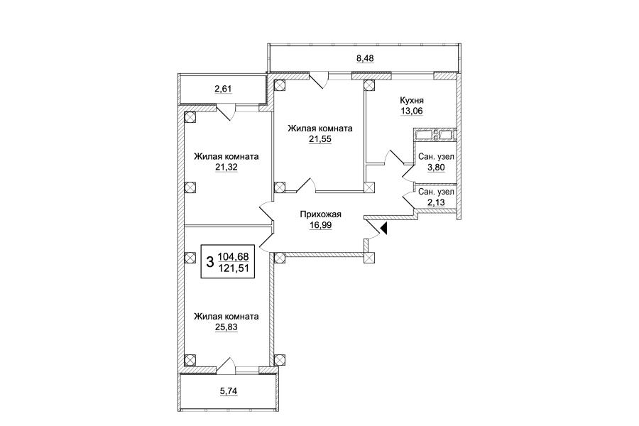 3 комнатная квартира (Секция Б) Sобщ=121,51