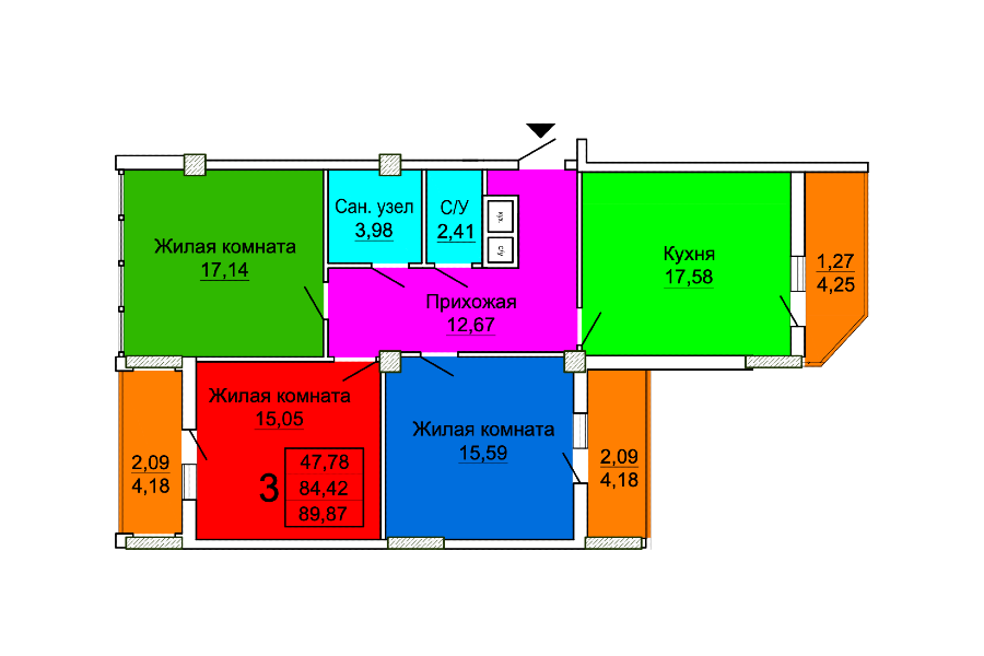 3 комнатная квартира (Секция 2) Sобщ=89,87