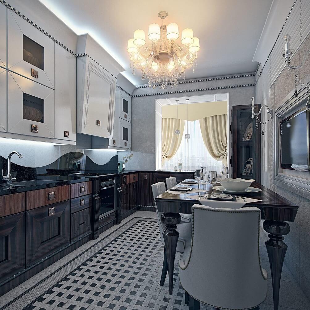 интерьер кухни в стиле арт деко